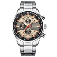 Часы CURREN Мужские, спортивные, кварцевые, с секундомером, из нержавеющей стали(Китай)