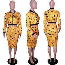 Осенне-зимний комплект из двух предметов, Женская куртка-бомбер с длинными рукавами, топ и юбка, комплект 2020, сексуальный комплект из 2 предм...(Китай)