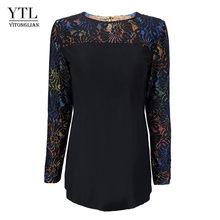 Женская блузка YTL размера плюс с круглым вырезом, кружевной вставкой и цветочным рисунком, черная туника с длинным рукавом, рубашки для мусу...(Китай)