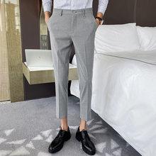 Мужские костюмные брюки в полоску, повседневные облегающие деловые брюки до щиколотки для офиса и свадьбы, 2020(Китай)