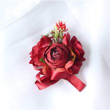 Прямая поставка, Шелковый цветок на запястье, искусственная Роза, брошь подружки невесты, декоративная Мужская бутоньерка, аксессуары для с...(Китай)