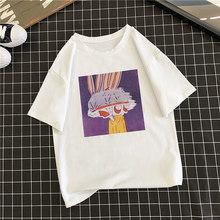 Duckwaver/Летняя футболка для девочек с мультипликационным принтом «Rubbit», размер 90 s, милая дышащая мягкая женская футболка, эстетическая Базова...(Китай)