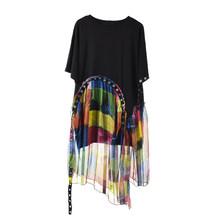 Женское платье с принтом EAM, черное платье большого размера из шифона с коротким рукавом и круглым вырезом, модель JX8660 на весну и осень 2020(Китай)