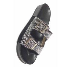 TINO KINO/женские шлепанцы с кристаллами и пряжкой; Женская обувь; Летние блестящие Повседневные тапочки на плоской подошве; Женская модная обу...(Китай)