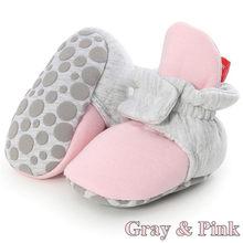 Носки для новорожденных; обувь для маленьких мальчиков и девочек; короткие ботинки для малышей; хлопковые удобные мягкие Нескользящие зимн...(China)