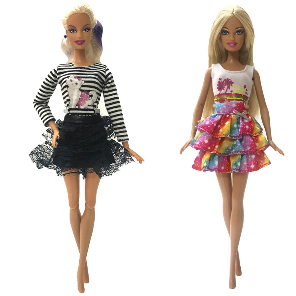 NK Mix 2 шт./компл. Кукольное платье модный наряд повседневная одежда юбка для куклы Барби аксессуары Детская игрушка подарок для девочек 01A JJ(Китай)