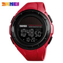 SKMEI мужские часы с компасом, цифровые спортивные часы, 5 бар, водонепроницаемый светодиодный, солнечная энергия, зарядка, топ, роскошный брен...(Китай)