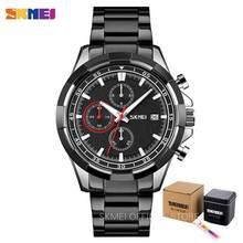SKMEI три глаза циферблат Мужские часы секундомер Дата кварцевые мужские наручные часы светящаяся указка модные мужские часы reloj hombre 9192(Китай)