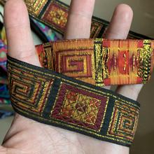 Винтажная Этническая вышитая кружевная лента, 3 ярда, 1,3 дюйма, 33 мм, бохо, кружевная отделка, сумка для одежды, аксессуары, вышитая ткань(Китай)