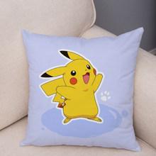 Классическая игра, разноцветный чехол для подушки с изображением покемона Пикачу, 45*45 см, мягкий короткий плюшевый декор, чехол для подушки ...(Китай)