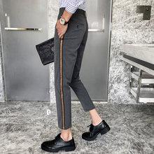 Мужские классические брюки, классические повседневные деловые брюки для свадьбы, деловые брюки, облегающие брюки для офиса, Homme 2020(Китай)