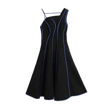 Женское Ассиметричное платье EAM, черное платье в полоску без рукавов с ассиметричным воротником, модель 1U612 на весну-лето 2020(Китай)