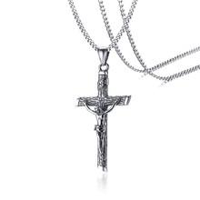"""Vnox ассорти, крест, крест, подвеска для мужчин, ожерелье из нержавеющей стали, молитва Христос, ювелирное изделие с 24 """"цепочкой(Китай)"""