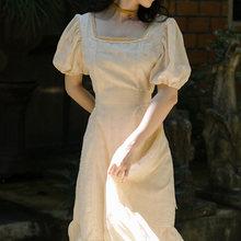 Платье для Homecoming, длинное, с квадратным вырезом, короткими рукавами-пузырьками, в стиле ретро, с поясом, для свидания, отпуска(Китай)