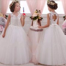 2020 платье с цветочным узором для девочек Открытое платье с цветочным рисунком на спине для девочек высококачественное свадебное платье с ц...(Китай)