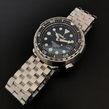 Черные часы из нержавеющей стали, консервированный тунец, мужские часы для подводного спорта, автоматические механические часы 300 м, часы дл...(Китай)