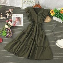 Элегантное платье феи с высокой талией и v-образным вырезом, плиссированное платье без рукавов на платформе, женское платье 2020, летнее новое ...(Китай)