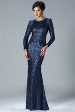 Vestido De Noiva 2015 Золотые/темно-синие модные длинные вечерние платья с блестками, платья с длинным рукавом для матери невесты XMD16(Китай)