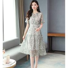 2020 винтажное шифоновое милое платье миди с принтом весна-лето размера плюс однотонное подиумное платье элегантное женское облегающее вече...(Китай)