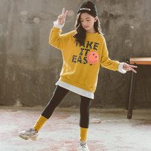 Осенняя одежда для девочек, Модный комплект детской одежды, весна 2020, хлопковый пуловер, толстовка + леггинсы, 3 цвета, одежда для девочек(Китай)