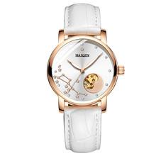 Женские автоматические механические наручные часы HAIQIN, роскошные деловые часы с кожаным ремешком, 2019(Китай)