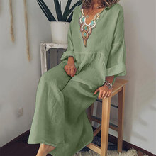 Женское платье с v-образным вырезом, свободное платье с длинным рукавом, большие размеры, весна-лето, элегантные белые длинные платья, женска...(Китай)