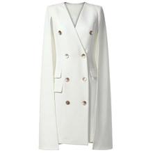 Женское офисное платье-блейзер, белое двубортное платье с накидкой, вечерние облегающие платья, сексуальный блейзер с v-образным вырезом, 2020(Китай)