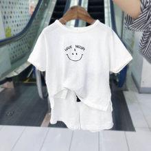Новинка 2020, детская одежда для маленьких мальчиков и девочек, хлопковая льняная футболка, топы + шорты, штаны, комплекты из 2 предметов, летни...(Китай)
