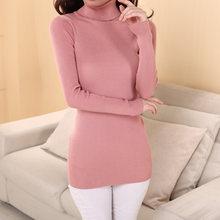 Эластичные свитера с длинным рукавом, женские пуловеры с высоким воротом, зимняя Осенняя Женская одежда, свитер, уличная одежда, вязаный Топ...(Китай)