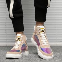 Мужская обувь; кожаные высокие разноцветные кроссовки; Повседневная Осенняя мужская Баскетбольная Обувь На Шнуровке; обувь для скейтбордб...(Китай)