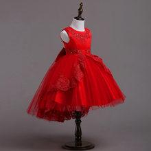 Детские асимметричные вечерние праздничные платья с v-образным вырезом для свадьбы; Детский праздничный костюм; Платье принцессы; Одежда дл...(Китай)