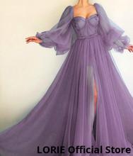 LORIE/Длинные Пышные синие платья для выпускного вечера с длинным рукавом, фатиновое вечернее платье на шнуровке с открытой спиной, вечернее п...(Китай)