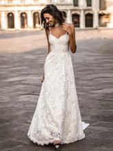 LORIE богемные Свадебные платья с кружевами, винтажные Свадебные платья с v-образным вырезом и низкой спинкой, пляжные свадебные платья на зак...(China)