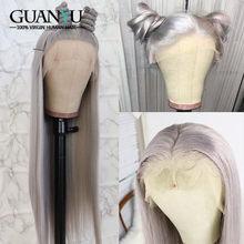 13X4 150% плотность Цветной серый парик человеческих волос бразильские волосы Remy с эффектом омбре Синтетические волосы на кружеве парики из на...(Китай)