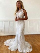 LORIE Элегантное свадебное платье с кружевной аппликацией со шлейфом 2020, Холтер без рукавов, свадебное платье, тюль, Винтаж(China)