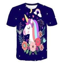 Футболка унисекс с единорогом, белая футболка с коротким рукавом и 3D принтом для мальчиков и девочек, лето 2020, детская одежда, одежда для дев...(Китай)