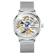 GUANQIN Skeleton Tourbillon спортивные часы, автоматические мужские роскошные часы, мужские механические водонепроницаемые часы, мужские часы(Китай)