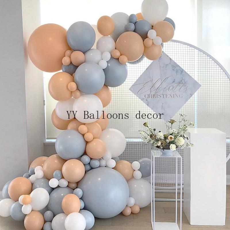 124pcs Balloon Garland Arch Kit Macaron Diy Blush Grey Peach Ballon Decorations For Wedding Birthday Baby Shower Party Supplies Ballons Accessories Aliexpress
