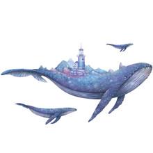 Подводный мир КИТ Коралл наклейки на стену для детей комнаты ванная комната Домашний декор современные акварельные виниловые обои наклейк...(Китай)