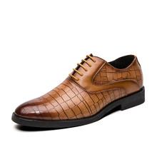 2020 г., Мужские модельные туфли деловые кожаные свадебные туфли в британском стиле мужские кожаные оксфорды на плоской подошве, официальная ...(China)