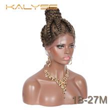 Kalyss 360 швейцарские кружевные передние плетеные парики предварительно плетеные высокие пучки с волосами для детей для черных женщин твист к...(Китай)