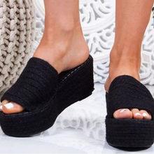 DORATASIA женские модные слипоны с открытым носком, Брендовые повседневные тапочки на танкетке с соломенным каблуком, 2020(Китай)