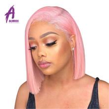 Розовый синий фиолетовый короткий Боб кружевные передние парики прямые человеческие волосы парики на кружеве 150% плотность alimice 13*4 бразильс...(Китай)