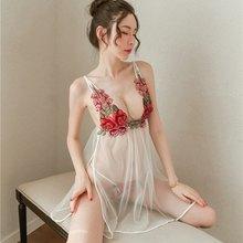 Сексуальное ночное белье, сексуальная ночная рубашка, кружевная ночная рубашка с глубоким v-образным вырезом, прозрачное платье, g-стринги, н...(Китай)