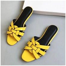 SUOJIALUN/женские брендовые шлепанцы; Летние шлепанцы; Модная повседневная обувь из лакированной кожи с открытым носком на плоской подошве; Пля...(Китай)