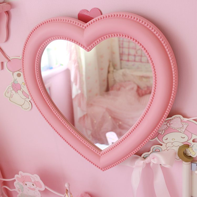 Pink Love Heart Shaped Cosmetic Mirror Makeup Wall Hanging Mirrors For Girls Aliexpress