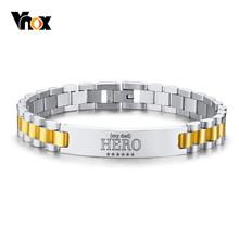Мужской браслет Vnox My Dad HERO, браслет из нержавеющей стали с индивидуальными цитатами, подарок на день отца, 19,5 см/21 см(Китай)