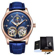 LIGE Роскошные брендовые деловые мужские часы, автоматические механические часы с турбийоном, спортивные кожаные водонепроницаемые часы, бе...(Китай)