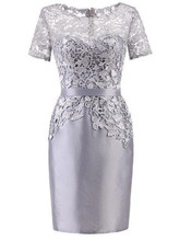 Короткое серебряное кружевное платье для матери невесты, костюм для гостей на свадебную вечеринку, короткий рукав, колонна, женское вечерне...(China)