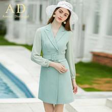 Женское Деловое платье-блейзер, элегантное деловое платье с длинным рукавом, весна-осень 2019(Китай)